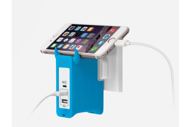 Momax U.Bull 1 Type C + 2 USB Charger Blue