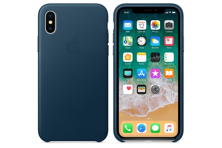 Apple iPhone X Leather Case Cosmos Blue