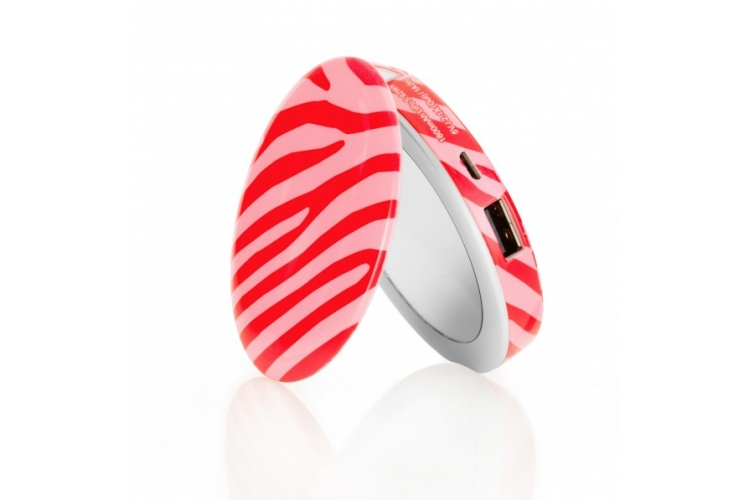 HYPER Pearl Mini Make-up mirror and Powerbank 1600mAh Zebra Pink