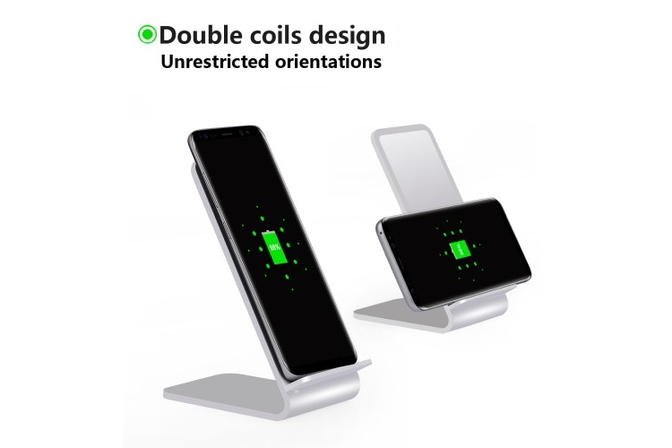 2-Coils Qi Aluminium Alloy Wireless Charger Stand White