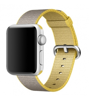 Apple 42mm Yellow/Light Grey Woven Nylon