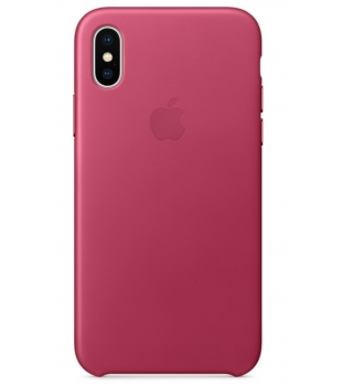 Apple iPhone X Leather Case Pink Fuchsia