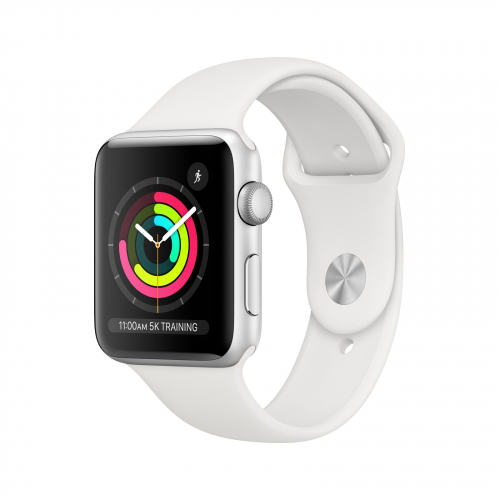 Apple Watch Series 3 GPS 42mm Silver Aluminium with White Sport Band