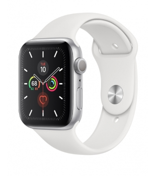 Apple Watch Series 5 GPS 44mm Silver Aluminium with White Sport Band