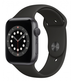Apple Watch Series 6 GPS 44mm Space Grey Aluminium with Black Sport Band
