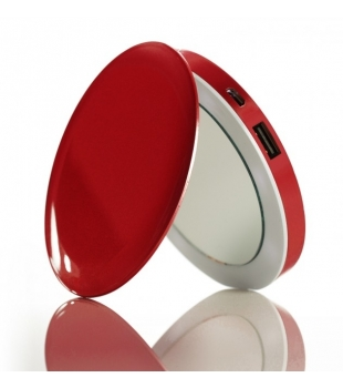 HYPER Pearl Make-up Mirror & PowerBank Red