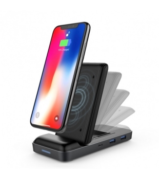 HYPER USB-C Hub + 7.5W Wireless Charger