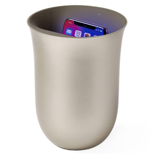 Lexon Oblio wireless charger with built-in UV sanitiser Gold