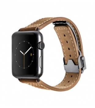Monowear 42mm Watch Brown Leather Deployant Band/Space Grey