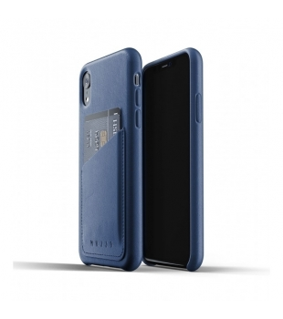 MUJJO Full Leather Wallet Case for iPhone XR Blue