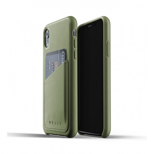 MUJJO Full Leather Wallet Case for iPhone XR Olive Green