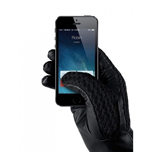 MUJJO Leather Crochet Touchscreen Gloves 8.5