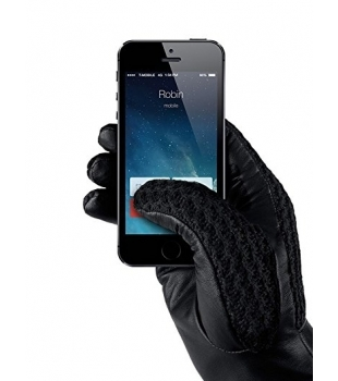 MUJJO Leather Crochet Touchscreen Gloves 9