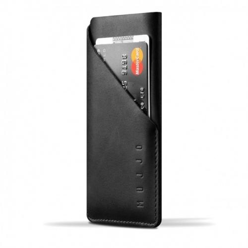 MUJJO Leather Wallet Sleeve for iPhone X Black