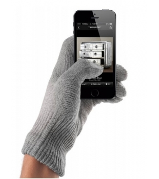 MUJJO Touchscreen Gloves Natural Gray M/L