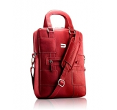 "Premium Leather V Bag 13"" Red"