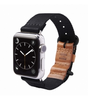 Toms 42mm Nylon strap with leather Black