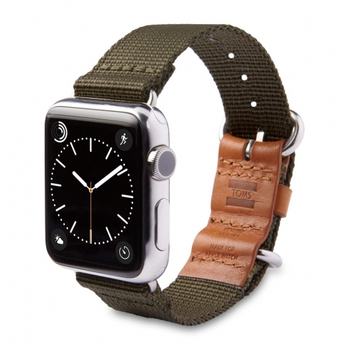 Toms 42mm Nylon strap with leather Olive