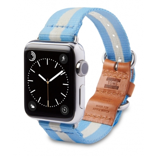 Toms 42mm Nylon strap with leather Stripe Light Blue